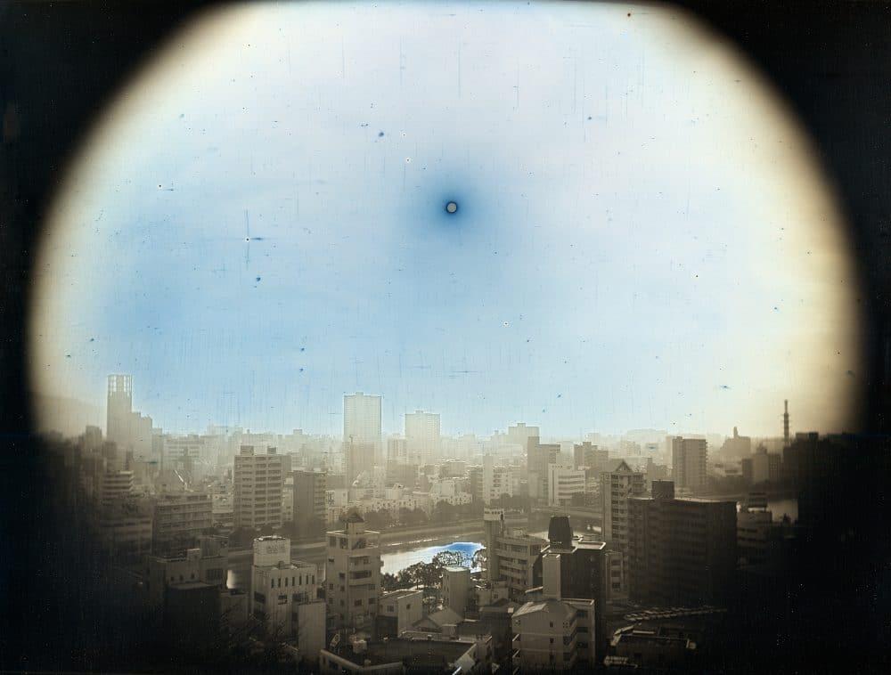 2014年3月23日, 比治山公園より西北西に見かけの高度570mの太陽, 広島