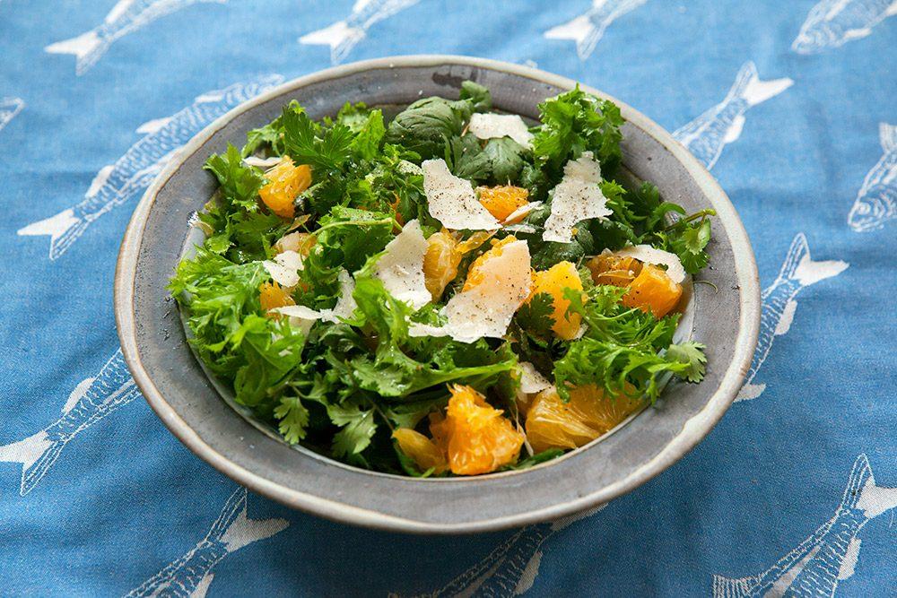 パクチーとわさび菜のサラダ