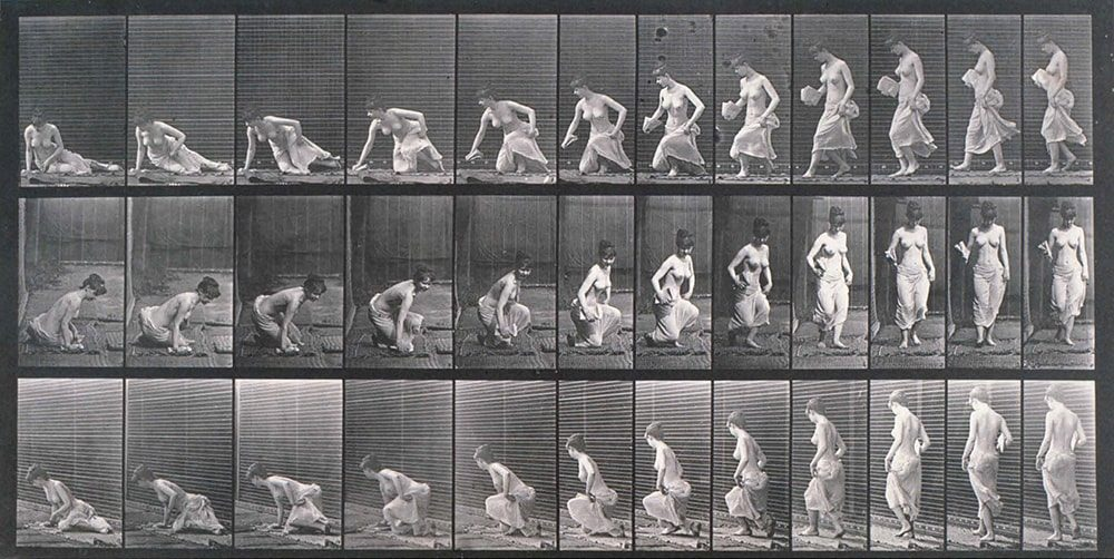 Semi-nude female kneeling down and standing up, c 1872-1885 Eadweard Muybridge / SSPL / Getty Images