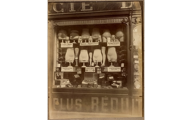 Eugène Atget (French, 1857 - 1927) [Boutique de bandagiste], 1920–1927, Gelatin silver chloride printing-out paper print 22.5 × 18.1 cm (8 7/8 × 7 1/8 in.), 90.XM.64.6 The J. Paul Getty Museum, Los Angeles
