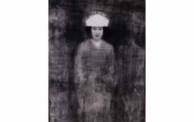 our face, 会津田島祇園祭七行器神事の花嫁行列の人30人を重ねた肖像  2003年7月23日 福島県 会津田島町