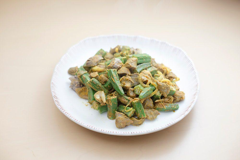 オクラと砂肝のカレー炒め