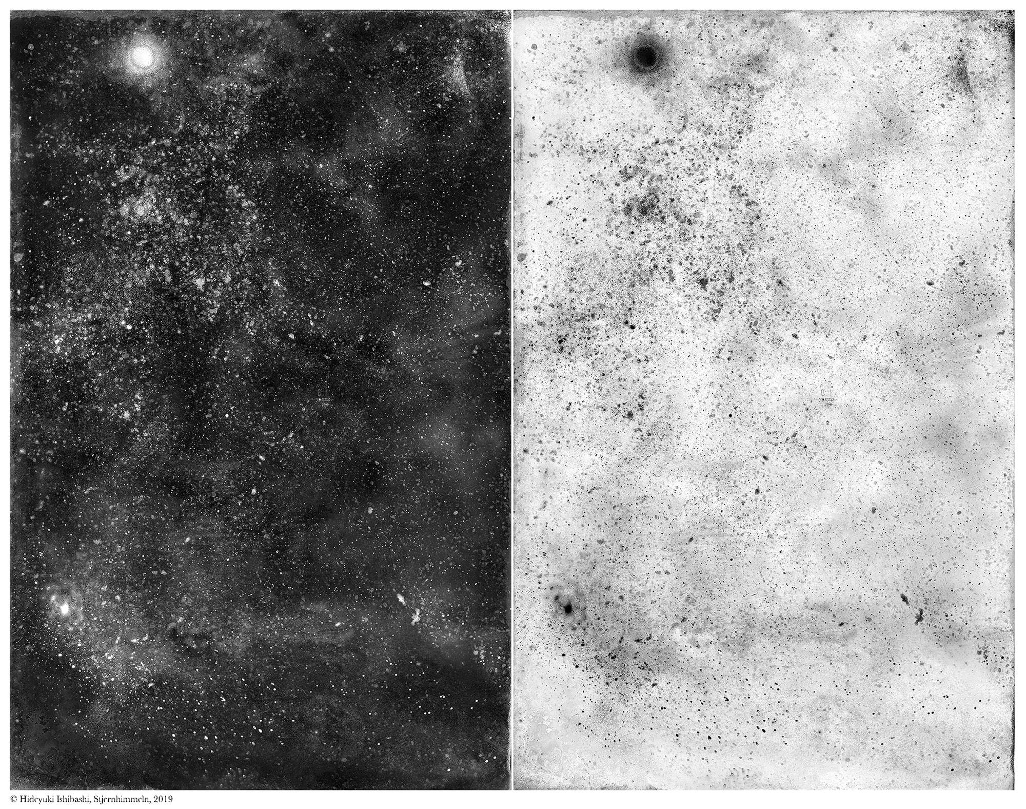 石橋英之「古典技法とテクノロジーを駆使するコンセプチュアルアーティスト」 | Poussières d'étoiles #01, Stjernhimmeln, glass wet plate collodion with led light, variable dimension, 2019