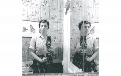 0143308. Self-portrait, 1955; Gelatin silver print; printed later; image size 12x12 inches; Ed. 7/15. © Estate of Vivian Maier, Courtesy Maloof Collection and Howard Greenberg Gallery, New York