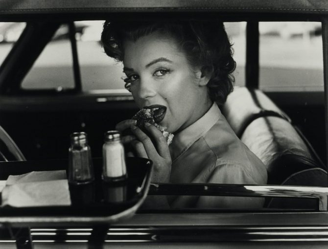 Photo by Philippe Halsman © Halsman Archive / Marilyn Monroe at the drive-in, 1952,