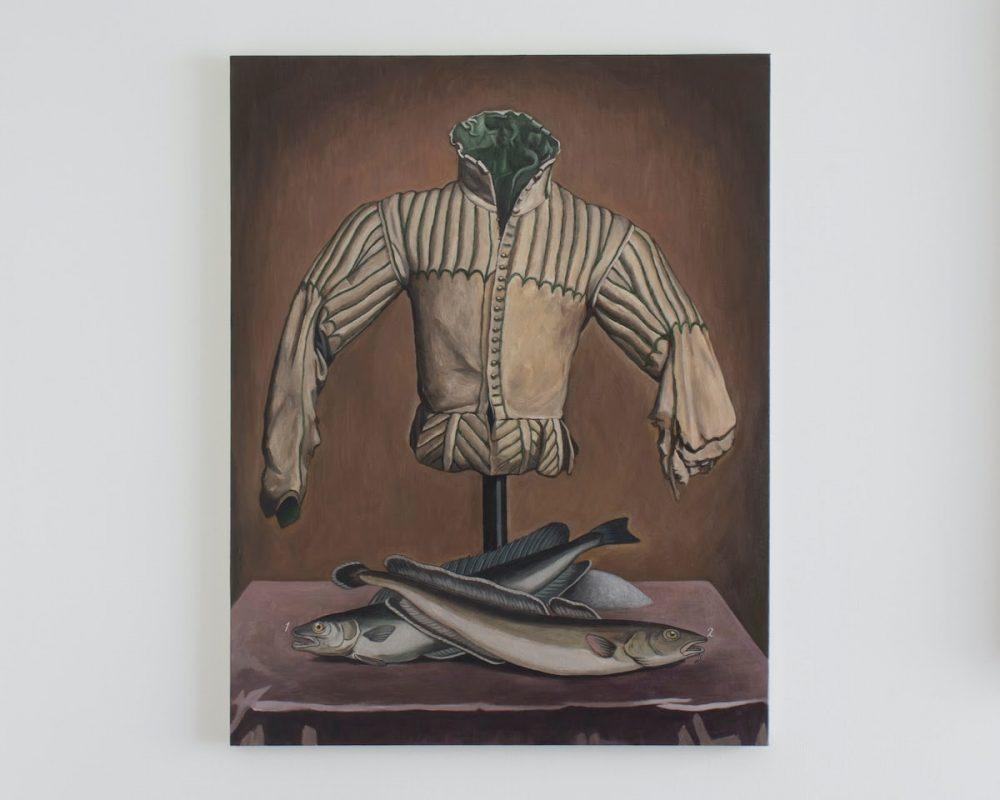 ユアサエボシ《着衣のトルソーと二匹の魚》2021年, キャンバスにアクリル