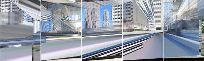 タイトル:extend scape 制作年:2021 素材技法:Pigment printing on photographic paper サイズ:T90×W60cm×5枚