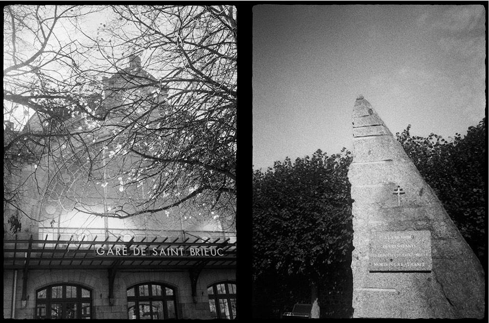 駅とレジスタンスの慰霊碑(サン=ブリュー・フランス)