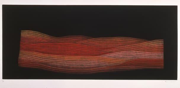 野(赤)1985-92 年 浜口陽三 カラーメゾチント 23.3×54.5㎝
